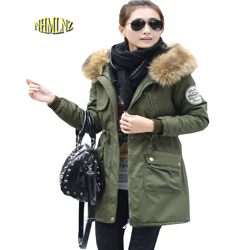 New Fashion Women Winter Cotton Jacket Hooded Fur collar Thickening Warm Coat Big yards Slim Long sleeve Medium long Coat G1888 new arrival fashion korean winter hooded cotton adjustable hem double breasted puff sleeve fur collar women jacket coat h4283