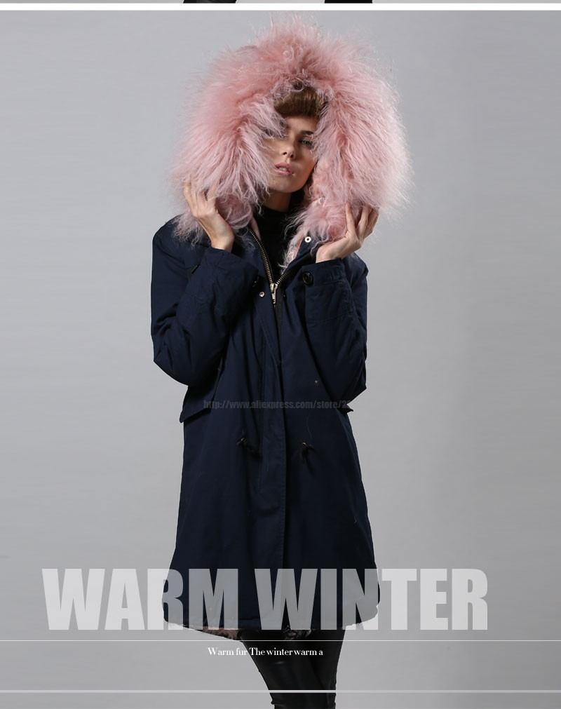 Free Shipping factory direct 1 Pc Winter Women Warm wool Fur Collar hooded long coat Jacket hoodie quilted Puffer blue mr parka 30