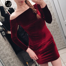 Women Sexy Off Shoulder Wine Red Sheath Velvet Party Long Sleeve Dress