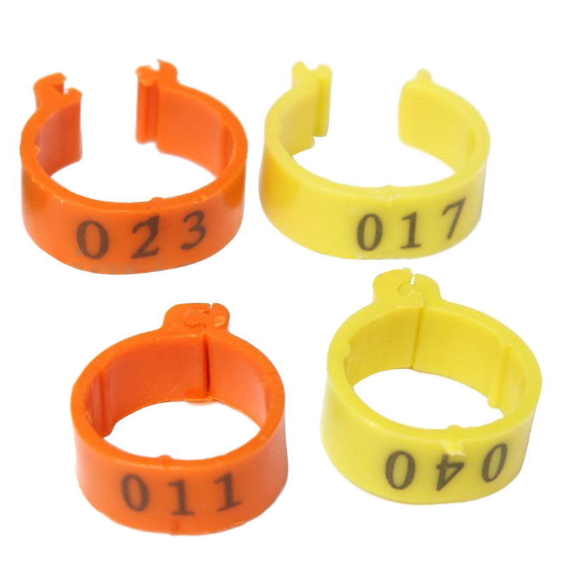 2Sets 100Pcs 001-100 Numbered Leg Bands 18mm Rings for Clip On Poultry Hens Chicken