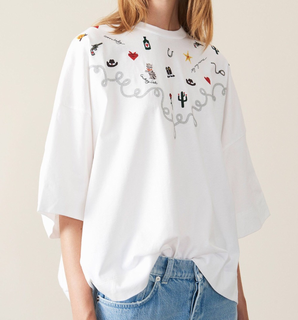 2019 Spring And Summer New O Collar Short Sleeve Character Embroidery Women Oversized White Cotton T-shirts