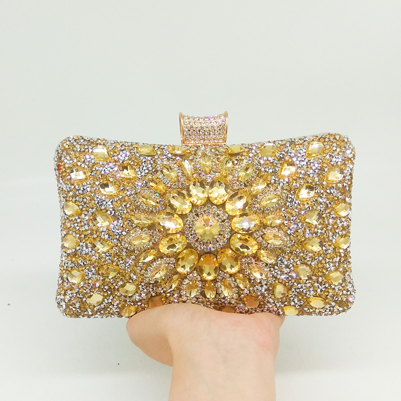 Boutique De FGG Dazzling Gold Crystal Flower Evening Purse Women Metal Clutch Minaudiere Bag Bridal Wedding Party Tote Handbag