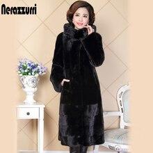 Nerazzurri Winter real mink fur coat for women china natural fur slim black genuine hooded russian mink coats plus size 5XL 6XL