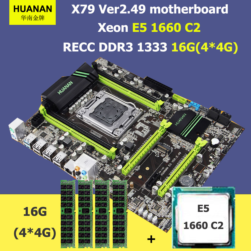HUANAN ZHI X79 motherboard CPU RAM bundle X79 LGA2011 motherboard with M.2 slot CPU Xeon E5 1660 3.3GHz RAM 16G(4*4G) REG ECC