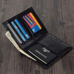 حافظة مستندات وهوية بسيطة للسفر حقيبة إيطالية جلدية مدبوغة بجواز السفر 6 ألوان