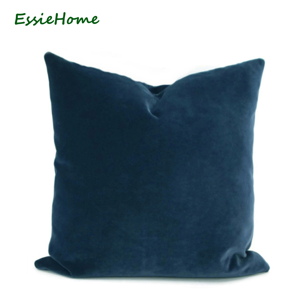 ESSIE HOME Luxury Navy  Blue Dark Blue Midnight Blue Cushion Cover Pillow Case Lumbar Pillow Case Velvet