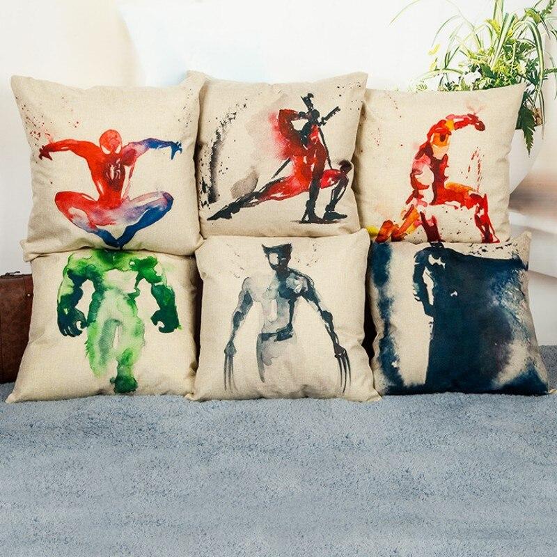 Cartoon Spiderman Iron Man Cushion Covers Square Cc111