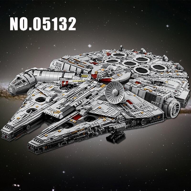 LELE 05132 StarWars Super Millennium Falcon Modelo Blocos de Construção Conjunto Compatível 75192 Série Star Wars Kid Brinquedos Educação Presentes