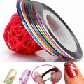 10 Color 20 m Rollos de Uñas de Arte UV Gel Tips Striping Etiqueta Engomada DIY Decoración 01ZX 4BH7