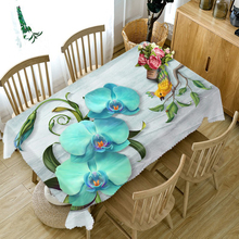 Exquisite 3d Round Tablecloth Blue Butterfly Orchid Pattern Waterproof  Thicken Cotton Rectangular Table cloth for Wedding Decor
