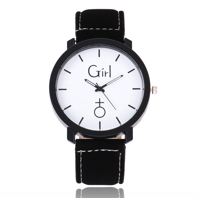 Simple Round Dial Quartz Watch PU Leather Strap Wristwatch For Girls Boys Couple Gifts LXH