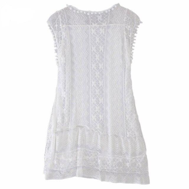 Summer Pierced Dress Sexy Women Casual Sleeveless Dresses Beach Short Dress Tassel Solid White Mini Lace Dress Plus Size Dresses