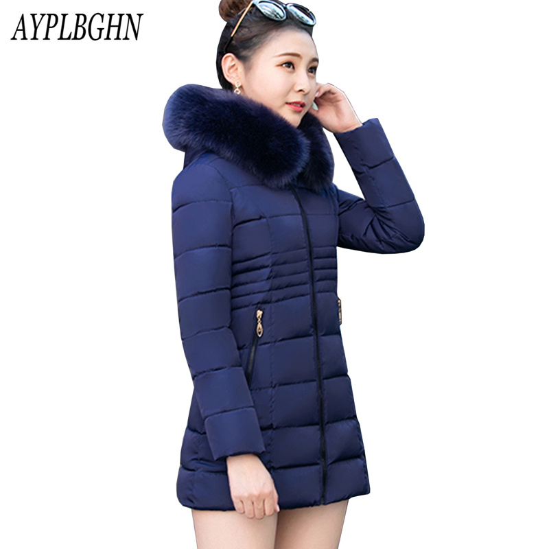 Plus size Candy color Slim Cotton coat Outerwear 2017 New women   Parka   winter jacket Women Thick Hooded Cotton-Padded Jacket 6L12