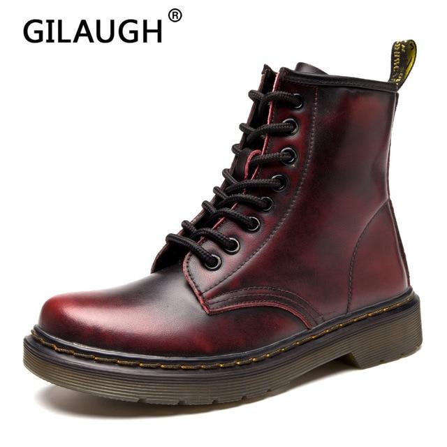 Sonbahar Kış Platformu Çizmeler Kadın Rahat Ayak Bileği Ayakkabı Kadın Deri Dantel Up Ayakkabı Bayanlar Için Kar Beyaz Botas Zapatos de mujer