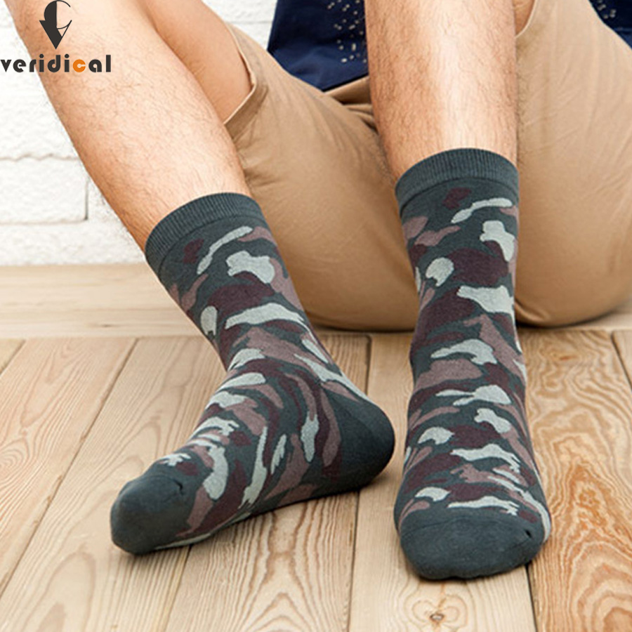 VERIDICAL 10pieces=5pairs=1lot New Military Socks Graffiti Green Mens Cotton Socks Jungle Style Winter Classic Camouflage Socks
