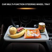Car Steering Wheel Tray Table Multi-function Laptop Stand Universal Foldable Drink Food Cup Holder Mount On