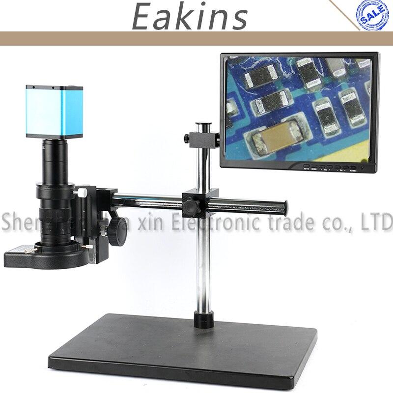 180X Regolabile Boom Stand Auto Zoom Digitale Messa A Fuoco Automatica 1080 p HDMI Industria Microscopio Video Macchina Fotografica di Controllo PCB Sistema di Lavoro