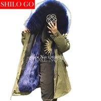 2017 Winter new fashion women high quality Navy blue Fox fur raccoon fur collar army green long section of loose black parka&XXL
