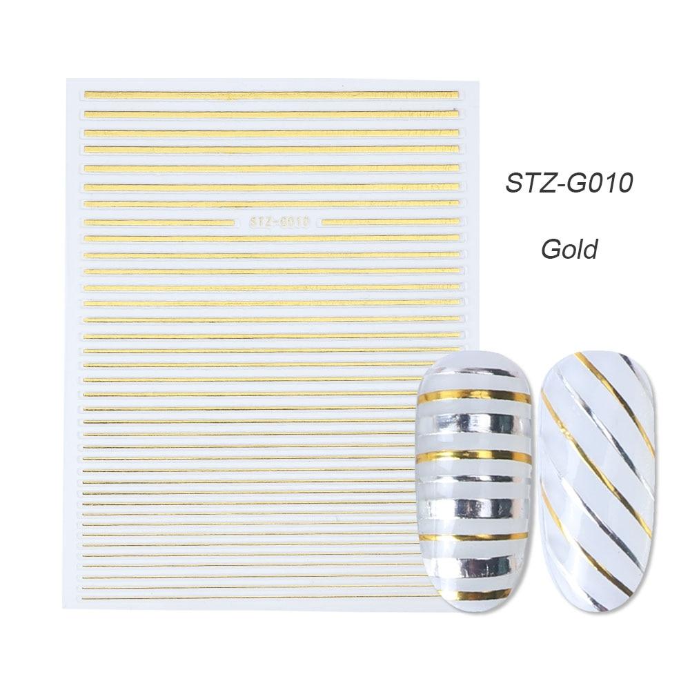 1 шт золотые Серебристые 3D наклейки для ногтей прямые изогнутые вкладыши полосы ленты обертывания геометрический дизайн ногтей украшения BESTZG001-013 - Цвет: STZ-G010 Gold