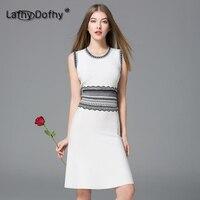 Британский стиль лето 2018 чистого белого цвета цельнокроеное платье Марка o образным вырезом без рукавов вязаный черный кружевной тонкая та