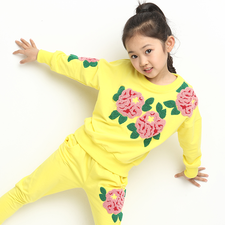 Free shipping children clothing spring girl three-dimensional embroidery 100% cotton suit long-sleeve T-shirt+pants free shipping children s clothing spring autumn girl leisure flower pattern girl suit long sleeve sweatshirt pants set