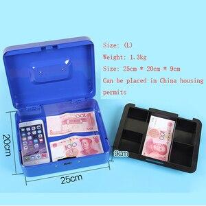 Image 2 - Przenośne bezpieczne pudełko pieniądze biżuteria schowek kolekcja Box Home School Office taca z przedziałami blokada hasła Box L 4 kolory