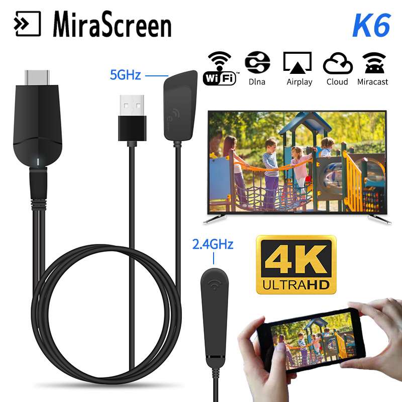 2019 TV Stick Mirascreen K6 5G/2.4G 4K HDMI Miracast DLNA Airplay WiFi Display Receiver Dongle Support PC Windows Andriod IOS