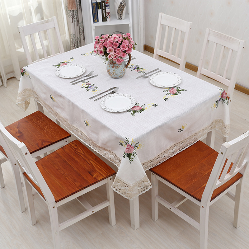 White Tablecloth Embroidered Plaid Lace Picnic Table Cloth ...