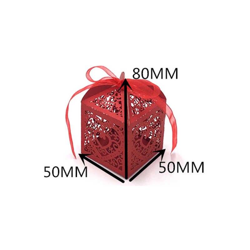 50 teile/satz Hochzeit Gefälligkeiten Herz Candy Box Candy Cookie Geschenk Tasche Papier Box Baby Dusche Mit Band Hochzeit Party Geburtstag liefert