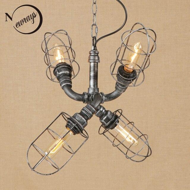 Vintage iorn american country black Indoor pendant lights LED lamp luminaire suspensionE27 110V 220V for living room bed room