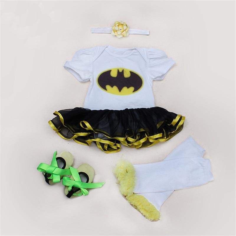 ФОТО Autumn Baby Romper Sets Cartoon Batman Newborn Tutu Dress Romper +Headband+Leggings+First Walkers 4pcs/set Toddler Clothing Sets