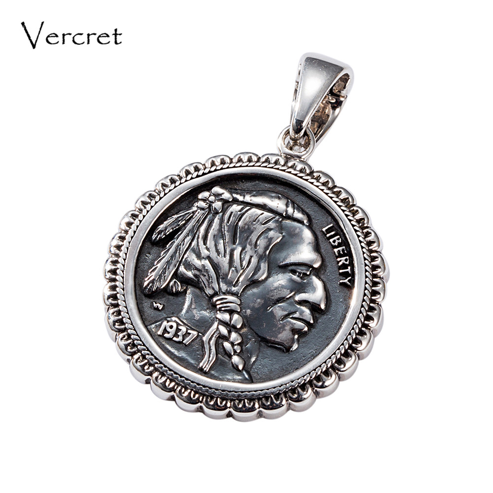 Vercret Hadnmade Native American Navajo Turquoise Sterling Silver Pendents Indian Head presale vercret turquoise 925 silver native american indian chief head ring for women vintage fine jewelry ring