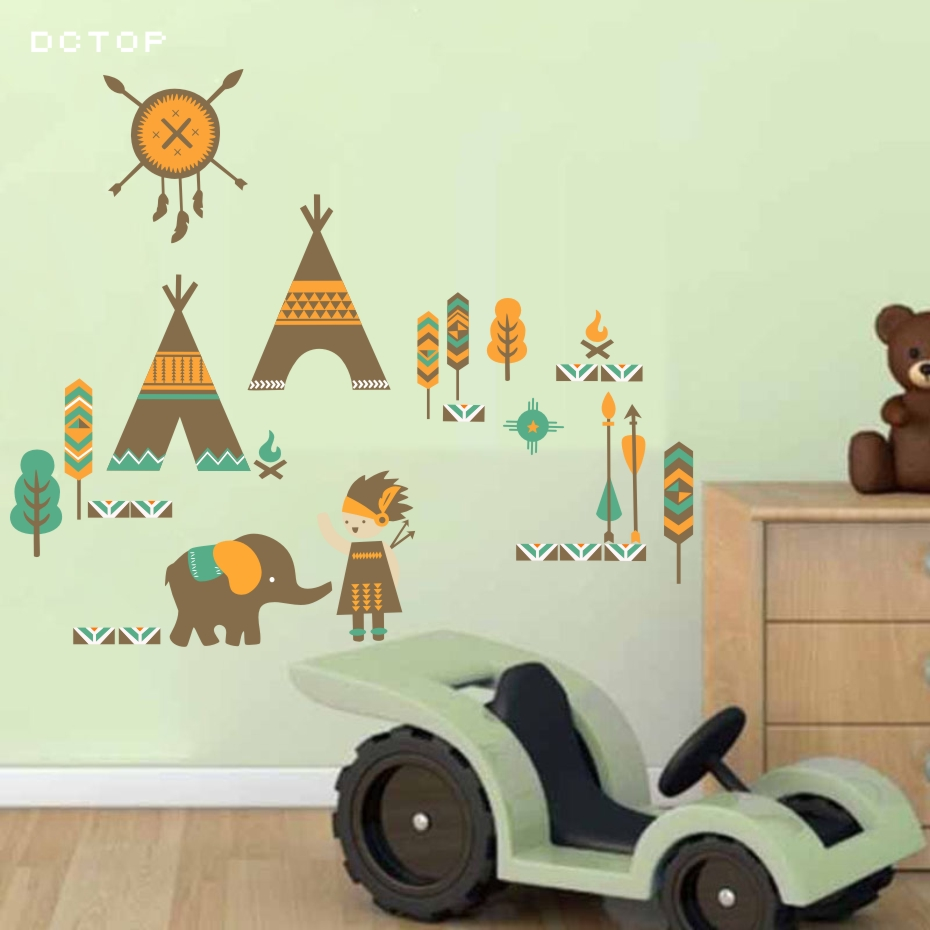 Cartoon Trees Curtains For Kids Boys Bedroom Blinds Linen: Cartoon Indian Style Tent Wall Sticker For Kids Room