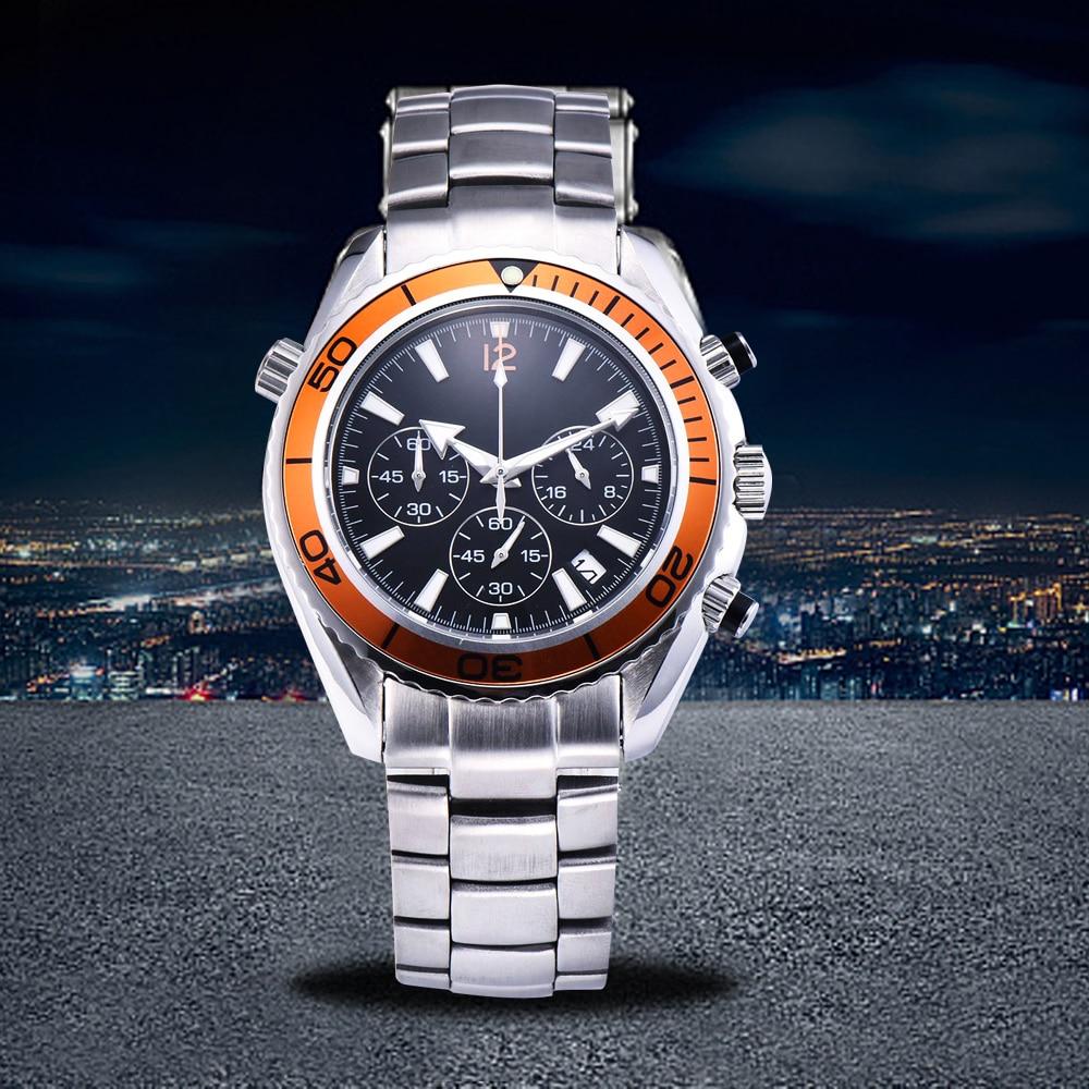 Montre lumineuse chronographe 44mm japon miborough quartz mouvement orange lunette tournante date non utilisé pour bracelet 1844-1