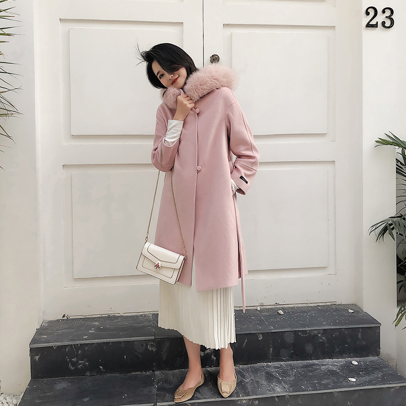 Casaco De Lã das Mulheres de alta qualidade Tamanho Grande Dw117 Mm2019 Inverno Novo Casaco De Lã Elegante Casaco de Lã Cor de Rosa - 3