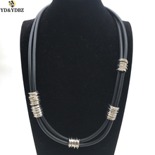YD&YDBZ New Handmade Aluminum Wire Winding Rubber Necklaces For Women Collar Chain Power Pendant Necklace Punk Dress Accessories