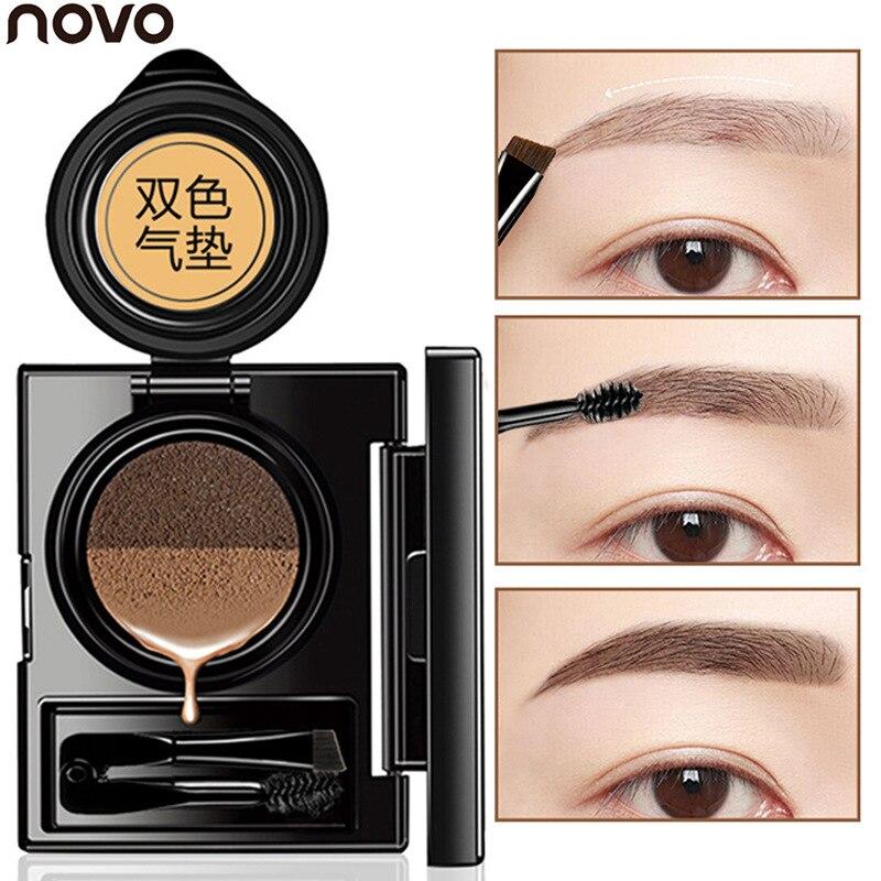NOVO Air Cushion 2 Cores Eye Brow Gel Maquiagem Marrom Café Pintar As Sobrancelhas Matiz Sobrancelha Tintura De Cera Gel À Prova D' Água