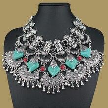 Nueva Gypsy Bohemia collar de la declaración de resina de la vendimia y colgantes de la manera Collar gargantilla clásico para las mujeres joyería 2015