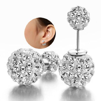 100% 925 sterling silver fashion shiny double Shambhala ball crystal ladies`stud earrings jewelry Anti allergy drop shipping 100% 925 sterling silver wholesale shiny crystal ladies tassel stud earrings jewelry anti allergy drop shipping female gift