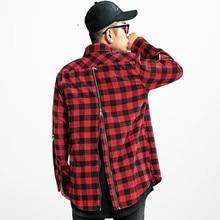 Red Grid Back Zipper Men Shirt High Street Hipster Clothes Bape Strip Unisex Shirt Brand-clothing Tommys Streetwear Good Quality