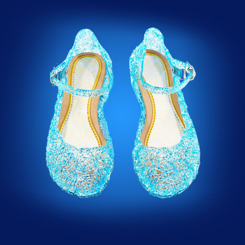 elegant girl princess sandals shoes anna elsa crystal shoes for 3-9yrs girls children kids girl's party dance performance shoes