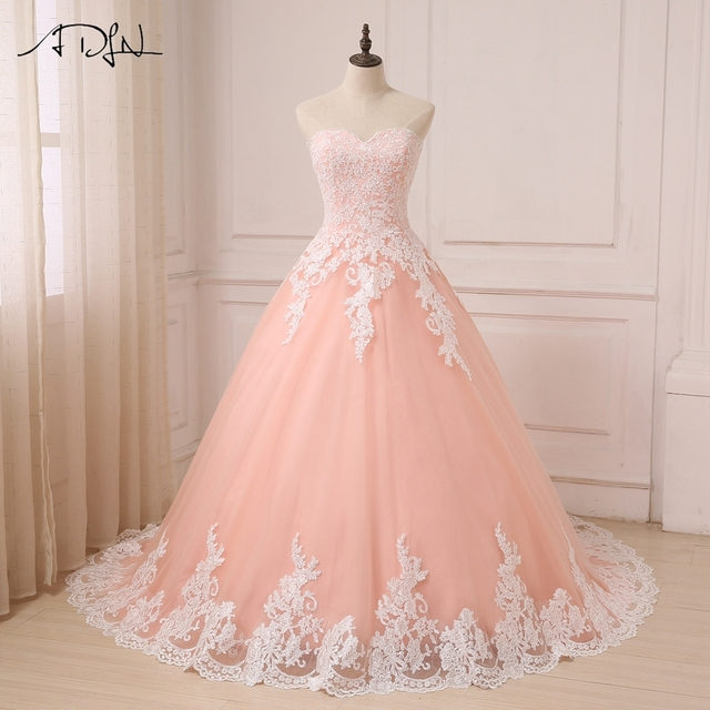 11262c3bcf6f6 ADLN 2019 Color Wedding Dresses Coral Sweetheart Sleeveless Tulle Wedding  Gowns Ball Gown Vestido De Noiva With White Applique