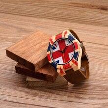 BOBOBIRD J23 Кварцевые Мужские Наручные Часы Relogio УФ Priting Британский Крест Национальный Флаг Мягкий Кожаный Ремешок Часы Лучший Бренд Класса Люкс OEM