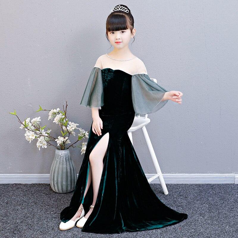 Velours enfants fille robe formelle longs résidus fleur fille robe Flare manches anniversaire Tutu robe de princesse sirène robes de fille