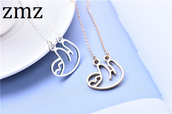 ZMZ 50pcs/lot 2018 cute lovely sloth necklace elegant animal minimalist pendant gift for friends/women/mother thanksgiving gift