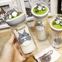 Joudoo мультфильм Тоторо воды Бутылка молока Чай Кофе герметичность с двойными Слои Стекло открытый Портативный питьевой с веревкой