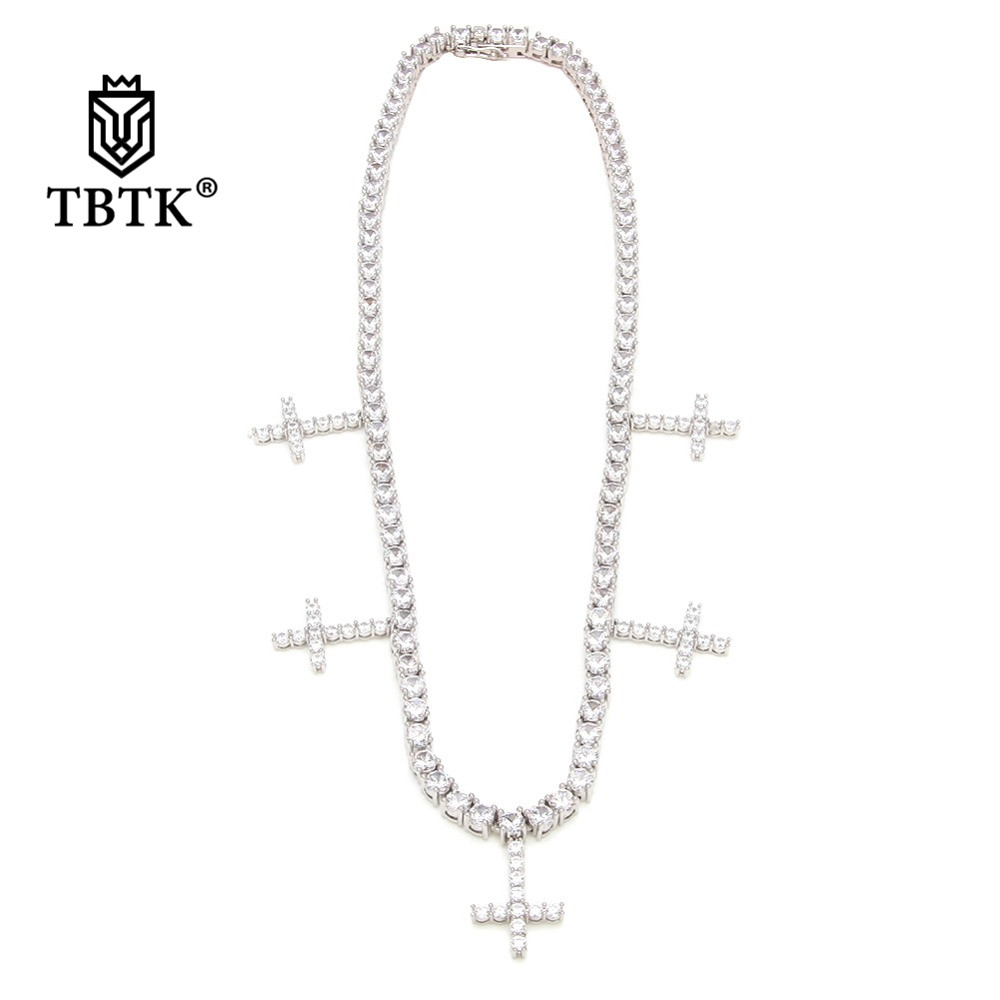 TBTK One Row Tennis Chain Necklace With Five Crosses Pendant Paved Clear Zircon Stones Luxury Jewelry Punk Trendy Hiphop for Man