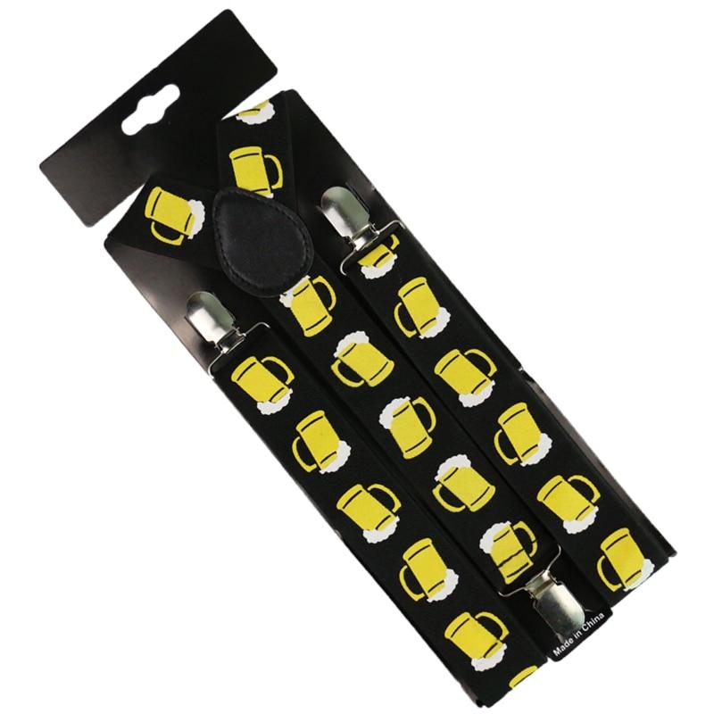 Winfox Black Yellow Men Women Suspenders 3.5cm Wide Beer Glass Cup Suspenders Gallus