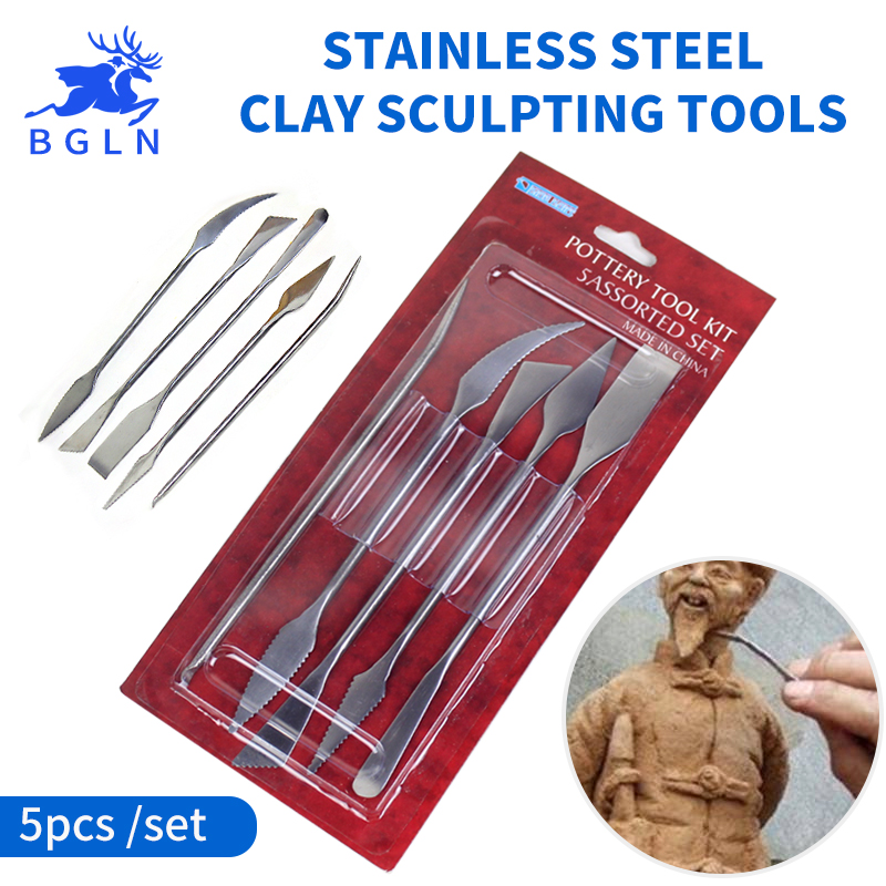 5 Pcs/ensemble Clay Sculpture Outils Poterie Sculpture Tool Set Argile Couleur Shapers, modélisation Outils & Couteau de Sculpture En Acier Inoxydable