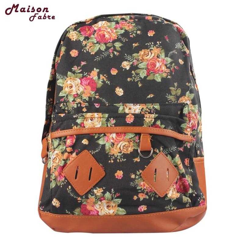 Maison Fabre Jasmine Traveling Women Girl Canvas Rucksack Flower Backpack School Book Shoulder Bag New Oct8